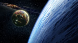 Desktop Wallpaper: Two planets and nebu...