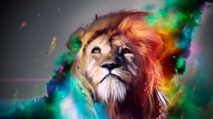 Desktop Wallpaper: Colored lion