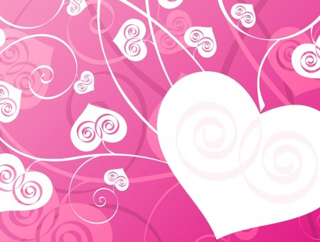 Hearts and pink background