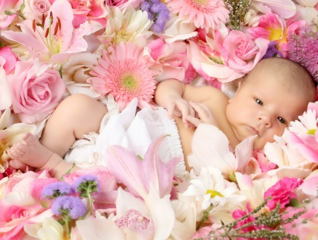 Cute kid in flowers