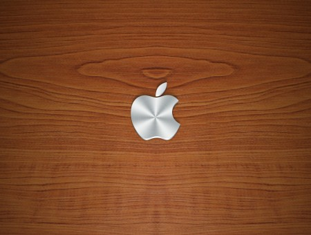 Logo Apple on wood