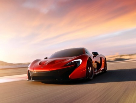Red McLaren P1 on the road