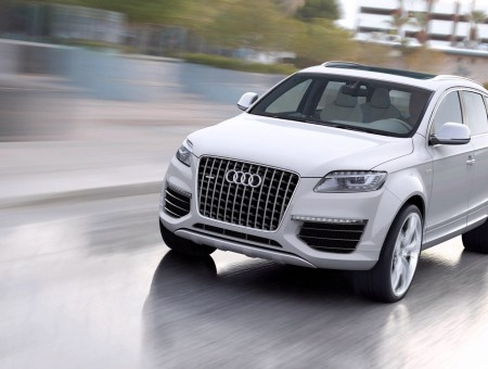 White Audi SUV on road