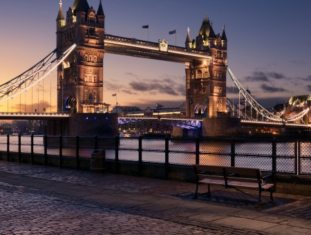 Tower Bridge on the background of the sunset in England
