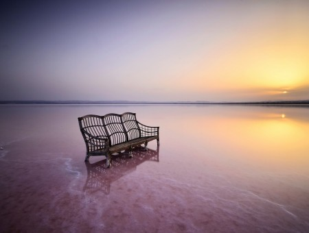 The bench standing in sea water