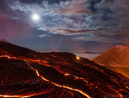 Volcano with a lava at night