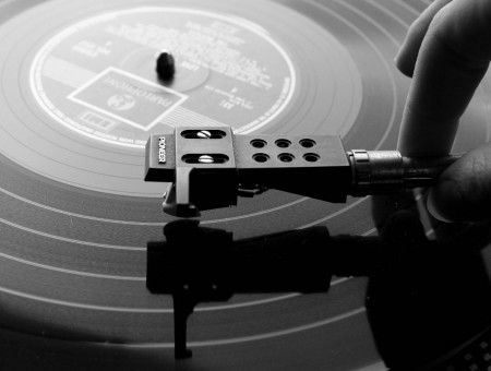 Black and white photo of the gramophone
