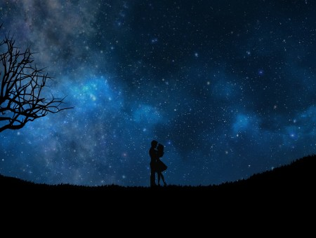 Couple and romantic sky