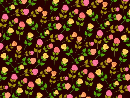 Vector flowers on black background