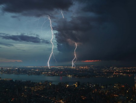Thunderstorm in the city at night