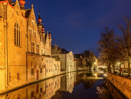 Belgium canal in night