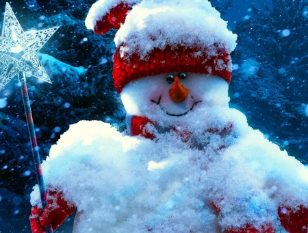 Cute snowmans toy and snow
