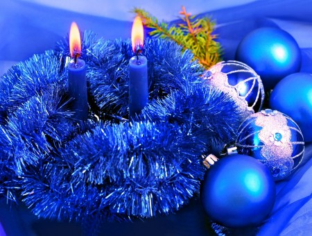 Blue Chritsmas toys and candles