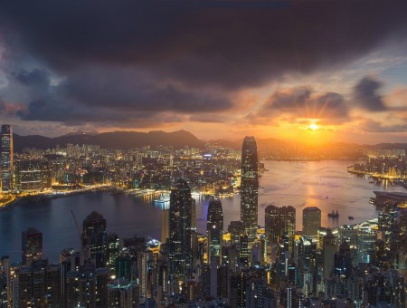Hong Kong and beautiful sunset