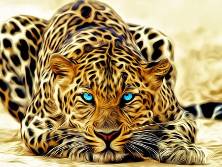 art leopard with blue eyes