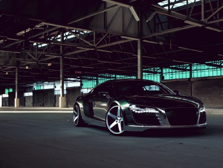 black audi in garage