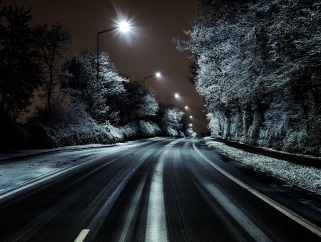 Night snow road