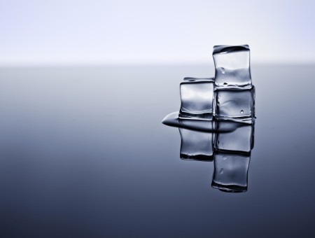 Three cubes of ice