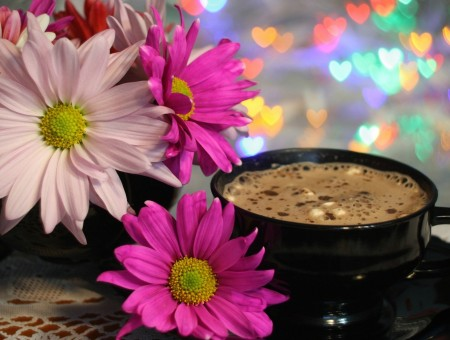 Flowers and coffes