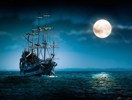 ship in sea and moon