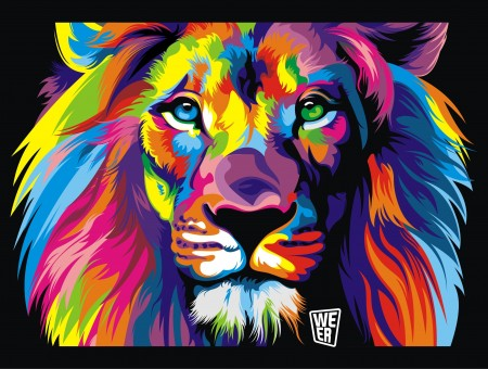 Rainbow lion art