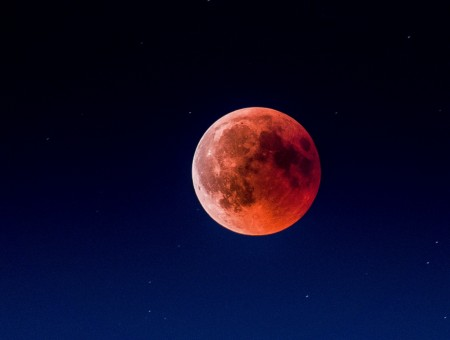 Red moon in sky