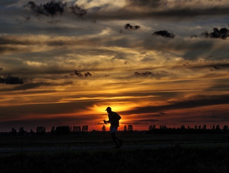 Runner and sunset
