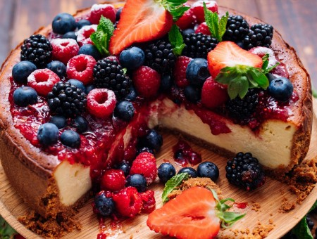 Cake and fruits