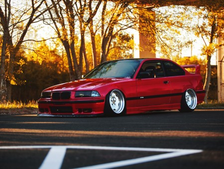 Stance red BMW E36