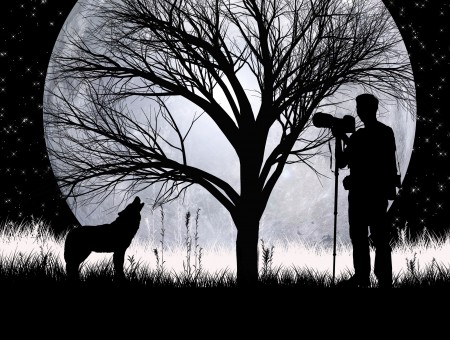 Man and dog under moon