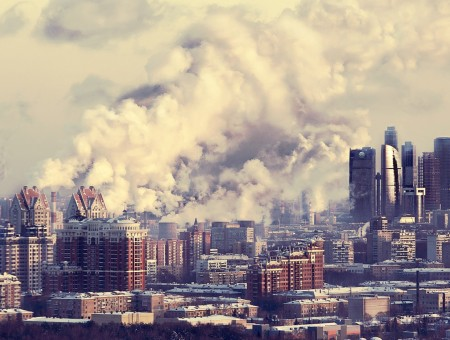 Smoke above Moscow City