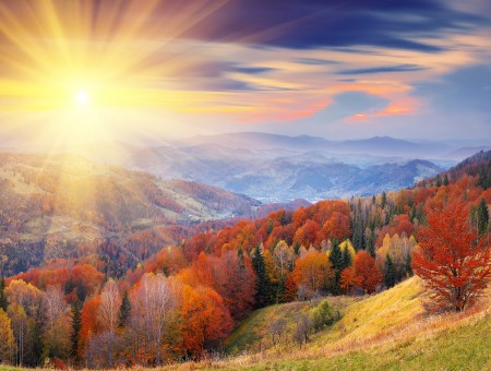 Autumn hills and sun rays