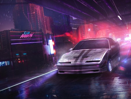 Night street and race car on road