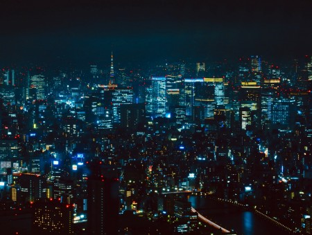 View from above Tokyo night
