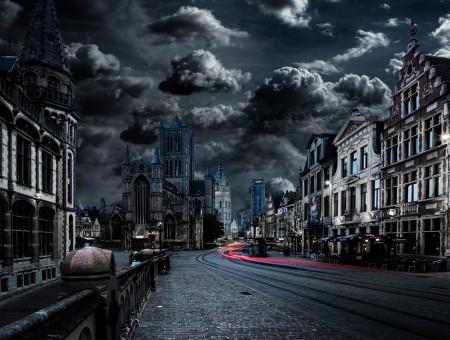 Dark City Under Grey Sky