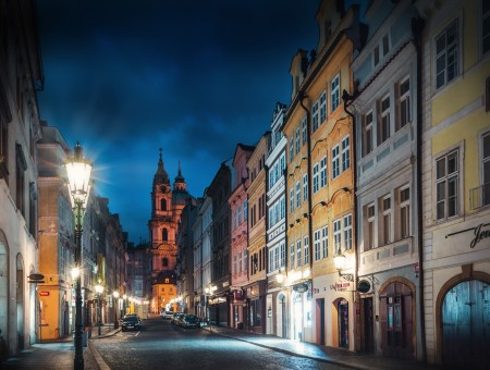 Prague street in night