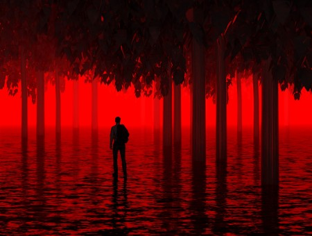 Red trees and lonely man