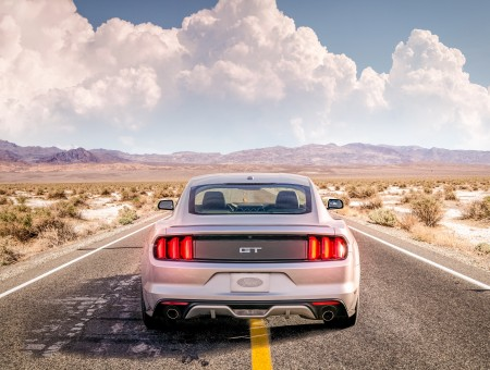 Ford Mustang on desert road